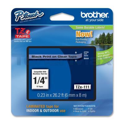 BROTHER TZ LAMINATED TAPE BLACK ON CLEAR 0.23IN X 26.2FT